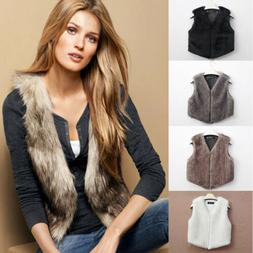 Women Warm Vest Outwear Casual Coat Faux Fur Blazer Jacket V