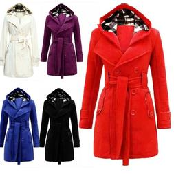 Women Warm Winter Hooded Trench Coat Wool Blends Long Jacket