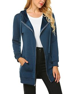 Zeagoo Women Winter Casual Zipper Hoodies Sweatshirt Coat Wi