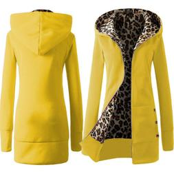 Women winter coat Hooded thick leopard sweater with velvet s