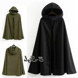 Women Winter Long Cape Cloak Hooded Thin/Thick Coat Sleevele