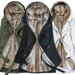 Women Winter Thicken Fur Lining Coat Jacket Long Hooded Warm