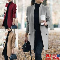 Women Winter Trench Coats Blazer Wool Long Jackets Outwear C