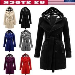 Women Winter Warm Hooded Trench Coats Wool Blends Long Jacke