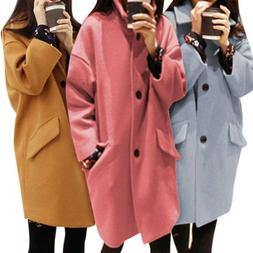 Women Winter Warm Lapel Wool Coat Trench Parka Jacket Overco