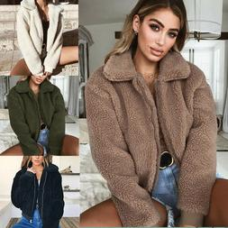 Women Winter Warm Teddy Bear Fluffy Coat Fleece Fur Jacket Z