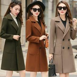 Women Winter Warm Wool Long Slim Coat Jacket Trench Parka Ov