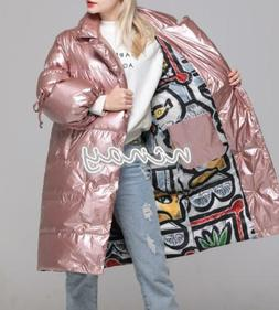 Womens 90% Duck Down Shiny Leather Coat Winter Warm Lapel Ou