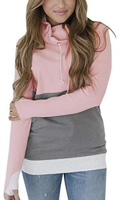 Womens Cowl Neck Patchwork Pullover Hoodies Drawstring Sweat