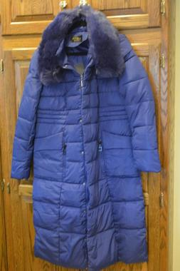 Womens Down Filled Warm Winter Parka Coat Pretty Blue Color