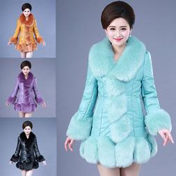 womens faux fox fur collar leather Luxary coat parka warm wi