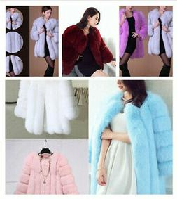 Womens Faux Fur Coat Parka Jacket Long Trench Winter Warm Th