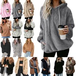 Women's Teddy Bear Fluffy Fleece Hoodies Coat Jacket Winter
