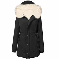 Zeagoo Womens Faux Fur Winter Warm Thicken Plus Jacket Hoode
