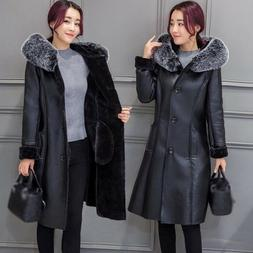 Womens Faux Leather Winter Warm Mid-Long Coat Thicken Hooded