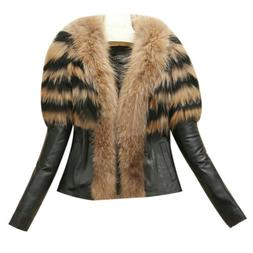 Womens Fur Collar Winter Warm Coats Faux Leather Jackets Ove