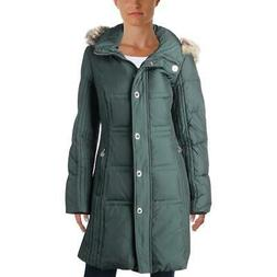Anne Klein Womens Green Winter Down Parka Puffer Coat Outerw