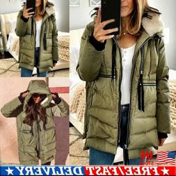 Womens Heavyweight Long Down Parka Jacket Fur Hood Coat Warm