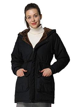 4HOW Womens Hooded Parka Jacket Military Winter Coat Lined F