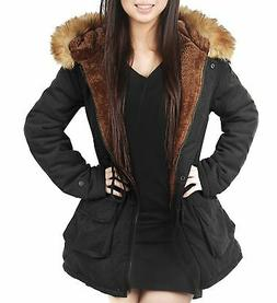 4HOW Womens Hooded Parka Jacket Winter Coat Warm Faux Fur Pa