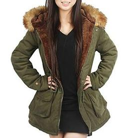 4HOW Womens Hooded Parka Jacket Winter Warm Coat Lined Faux