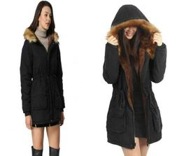 iLoveSIA Womens Hooded Warm Coats Parkas with 6, Black New D