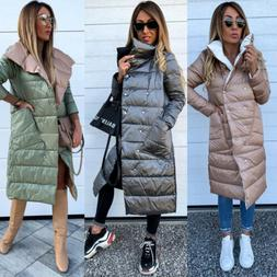 Womens Ladies Winter Coat Long Padded Quilted Puffa Jacket W