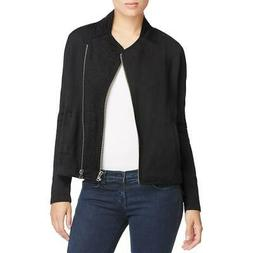 Alison Andrews Womens Lani Black Winter Fleece Moto Coat Out