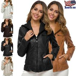 Womens Leather Hooded Jacket Winter Warm Outwear Slim Trench