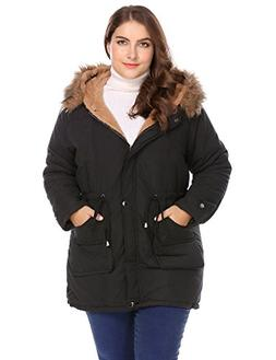 Zeagoo Womens Plus Size Military Hooded Warm Winter Faux Fur