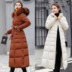 Womens Puffer Fur Collar Winter Quilted Hooded Down Long War