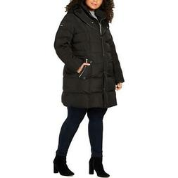 DKNY Womens Quilted Winter Water Resistant Midi Coat Outerwe