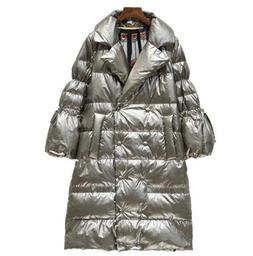 Womens Shiny Leather Winter Warm Duck Down Coat Long Jacket