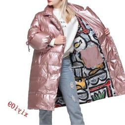 Womens Shiny Leather Winter White Duck Down Coat New Long Ja