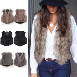 Womens Vest Winter Warm Hoodie Outwear Casual Coat Faux Fur