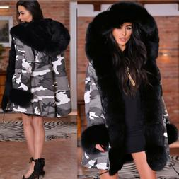 Roiii Womens Warm Fur Collar Long Coat Hooded Casual Winter