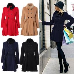 Womens Warm Fur Collared Winter Long Peacoat Coat Trench Out