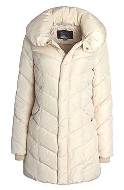 Sportoli Womens Winter Fleece Lined Chevron Quilted Puffer J