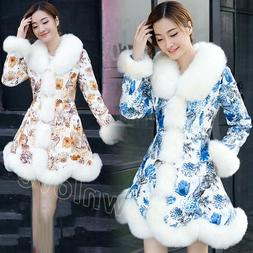Womens Winter Floral Printed PU Leather Long Jackets Faux Fu