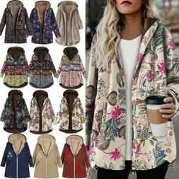Womens Winter Thick Outwear Floral Ethinic Lined Hooded Warm