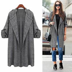Womens Winter Trench Long Coat Jacket Overcoat Waterfall Car