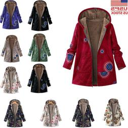 Womens Winter Warm Outwear Floral Print Hooded Pockets Vinta