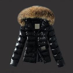 Winter Warm Slim Down Coat Outerwear Faux Fur Puffer Hooded