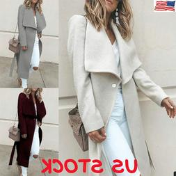 Winter Warm Women Wool Lapel Long Coat Trench Parka Jacket O