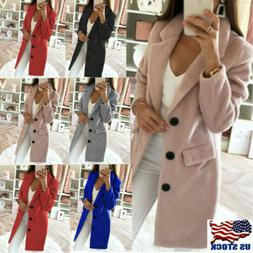 womens winter wool lapel long coat elegant