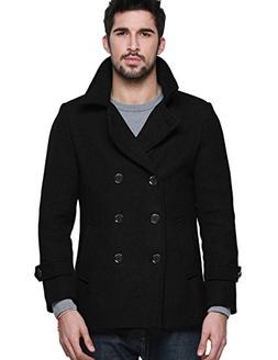 Match Mens Wool Blend Classic Pea Coat Winter Coat , 010-Bla