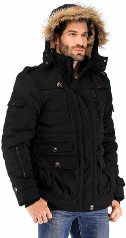 Yozai Mens Winter Military Warm Jacket Fleece Coat/ Detachab